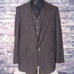 Jordache Vintage 3Pc Pinstripe Suit, 46R